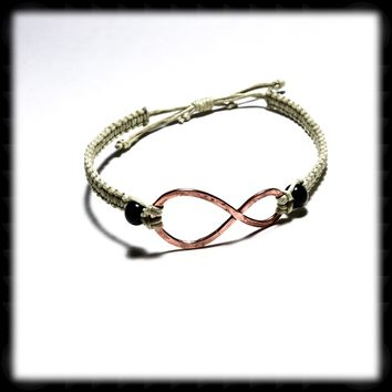 Micro Macrame Adjustable Size Bracelet with Copper Infinity Focal and Black Agate Accent Beads