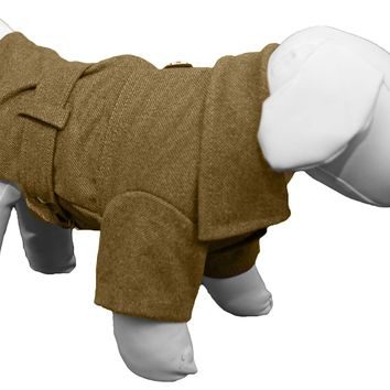 Galore Back-Buckled Fashion Wool Pet Coat- Olive Green: X-Small