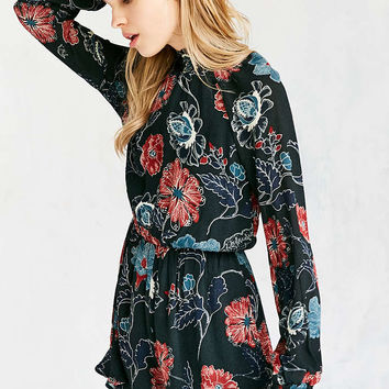 ASTR Eva Floral Long-Sleeve Mock-Neck Romper - Urban Outfitters