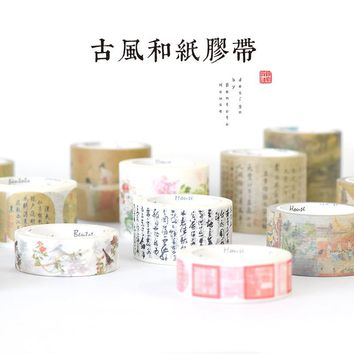 Anicent chinese famous painting and calligraphy vintage peotry Decoration washi tape DIY Planner Diary Scrapbook Masking Tape