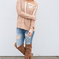 Plano Lace Up Sweater (Peach)