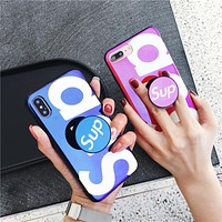 Sup Blu-ray Soft silicon Case For iphone 10 X 8 8plus 7 7plus 6 6s plus Expanding Holder Stand  Mirror shiny phone cases funda