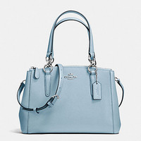 New Authentic Coach F57523 Mini Christie Crossgrain Leather Carryall Satchel Shoulder Bag in Cornflower Blue