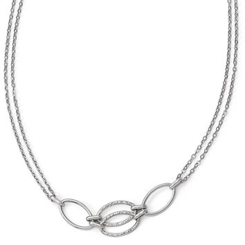 14k White Gold Polished Double Strand Link Necklace, 17.5 Inch