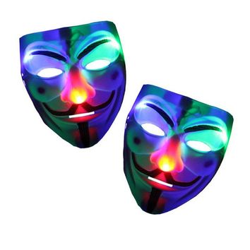 2017 Christmas LED Flashing V Mask for Vendetta Light up Masquerade Party Masks Full Face Mask Cosplay Costumes  Halloween