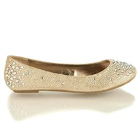 Clore10 Gold By Bamboo, Rose Gold Ballet Flats with Iridescent Studs