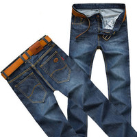 Ruched Solid Jeans For Men Kuzi020