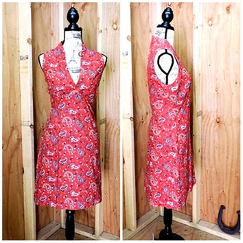 70s red paisley summer dress / M 7 / 8 / 1970s retro bandana sleeveless country picnic dress / handmade western  rodeo sundress