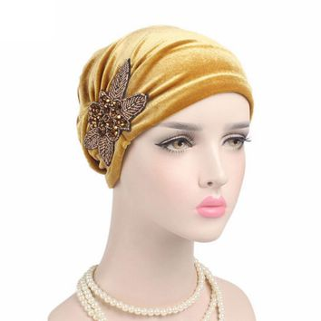 Hot Sale Women Cancer Chemo Hat Beanie Turban Head Wrap Bow Cap hats for women Velvet Autumn Winter Skullies