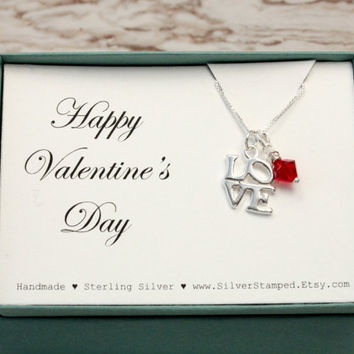Love necklace with red Swarovski crystal in a gift box - Valentine's Day gift - sterling silver necklace - gift for her mom girlfriend wife