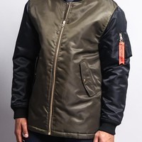 Contrast Sleeve Long Length MA-1 Bomber Jacket