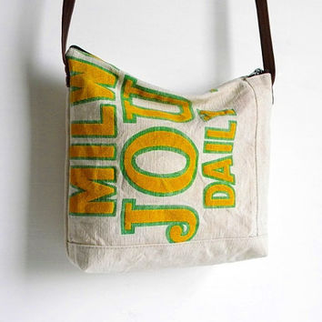Recycled Newspaper Bag Small Messenger by belrossa on Etsy