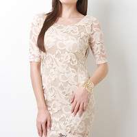 Asymmetrical Hem Floral Lace Dress
