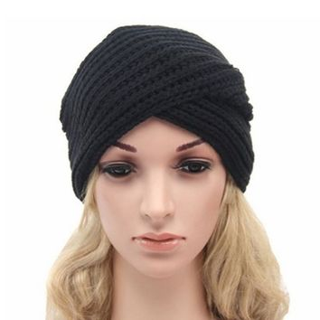 Women Beanie Knitted Crochet Turban Headwrap Hat Headband