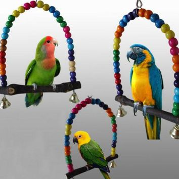 Colorful Bird Parrot Swing Cage Toy Parakeet Budgie Lovebird Woodens Birds Parrots Swings Toys Cage Papegaaien Speelgoed