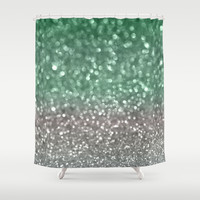 Mint and Gray Shower Curtain by Lisa Argyropoulos
