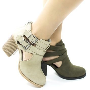 Scribe By Soda, Ankle Bootie W Side Cut Out & High Chunky Block Heel