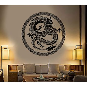 Vinyl Wall Decal Chinese Art Dragon Ornament Asian Style Stickers Unique Gift (1373ig)