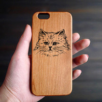 Cat iPhone 6 6s Case Wood , Engraved Wood iPhone 6 6s Case , Custom iPhone 6 6s Wood Case , Wood Phone Case , Valentine's Gifts for him