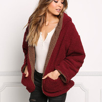 Wine Reversible Soft Faux Shearling Coat