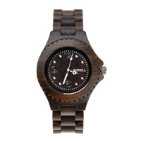 ZLYC Men Vintage Natural Sandalwood Quartz Movement Round Face Analog Wooden Wrist Watch, Black