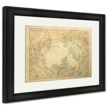 Framed Print, Old Map Of The Arctic Circle Lands