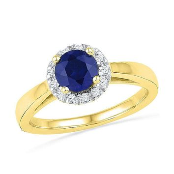 10kt Yellow Gold Women's Round Lab-Created Blue Sapphire Solitaire Ring 1-1/8 Cttw - FREE Shipping (US/CAN)