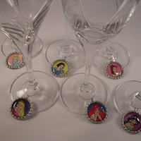 Disney Princess Wine Charms  - Disney Princess Bottle Cap Wine Glass Charms Set of 6