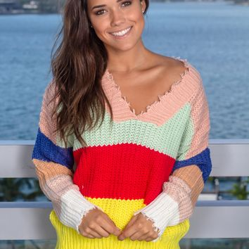 Multi Colored Frayed Knit Sweater