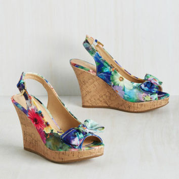 Peeps and Bounds Wedge in Floral | Mod Retro Vintage Heels | ModCloth.com