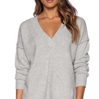 FRAME Denim Le Boyfriend Sweater in Light Gray