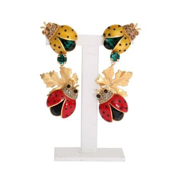 Dolce & Gabbana Gold Brass Ladybug Crystal Clip On Earrings