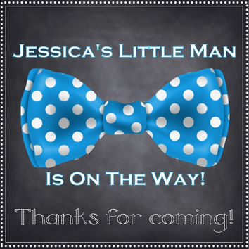 Bow Tie Blue Baby Shower Thank You Favor Tag