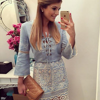 Blue Denim Long Sleeve Lace Dress