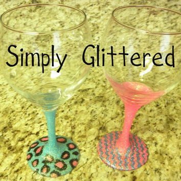 Glittered Wine Glass