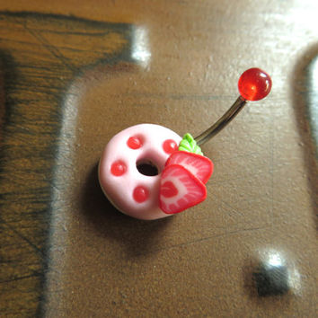 Strawberry Doughnut Dessert Belly Button Ring Navel Stud Jewelry Bar Barbell Piercing Cupcake Donut Frosting Treat