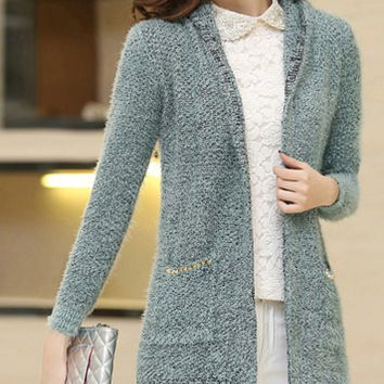 Hooded Collarless Pocket Design Cardigan with Rivets