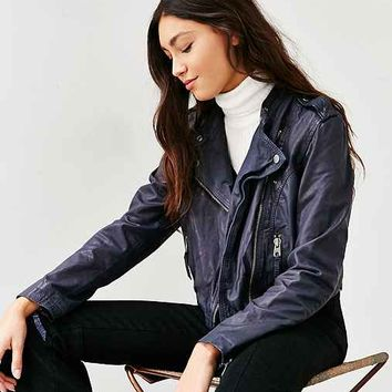 Members Only Navy Leather Moto Jacket