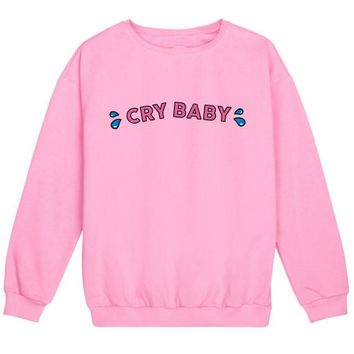 Cry Baby Jumper Womens Sweatshirt Tumblr Kawaii Pink Cotton Soft Harajuku Hipster Funny Tear Grunge Plus Size Hoodies