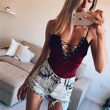 Sexy Deep V Neck Autumn Velvet Bodycon Bodysuit Velvet Sleeveless Lace Up Jumpsuit Autumn Rompers Woman Body Club Overall Femme