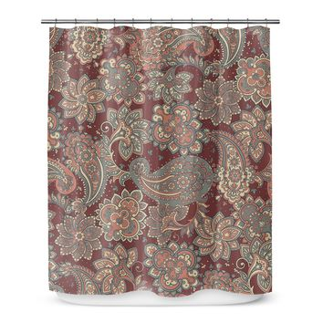 Shower Curtain Abstract Burgundy Paisley