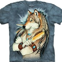 Golden Feather Native Wolf The Mountain Tee Shirt Adult M-XXXL