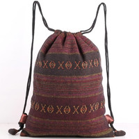 Maroon Drawstring Bag Rustic Tribal Drawstring Backpack Library Bag, Shoe Bag, Gym Bag