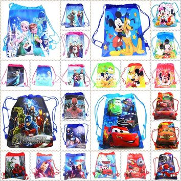 10pcs Disney theme Frozen Princess Avengers School Bags Backpack Drawstring Boy Bag Shopping Bag Birthday Party loot bag