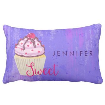 Sweet Cupcake with Raspberry on Top Custom Lumbar Pillow