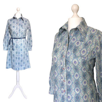 Vintage Horrockses Fashions Dress | 70's Cotton Print Dress | Blue 1970's Floral Shirt Dress