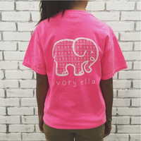 Pink Elephant and Letter Print T-Shirt