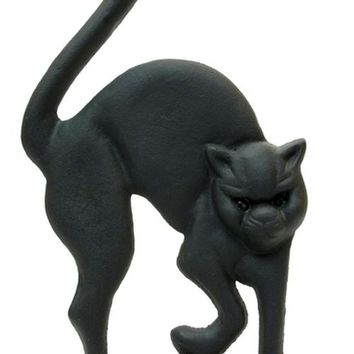 Cast Iron Black Cat Door Stop