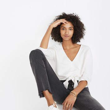 Textured Tie-Front Top : shopmadewell long-sleeve tees | Madewell