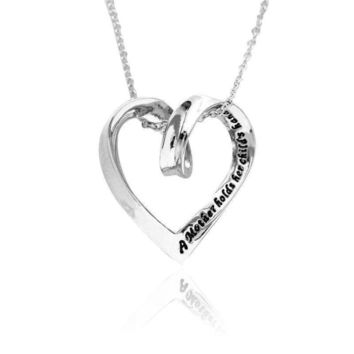 Silver Plated Hollow Mother Holds Her Child's Hand Heart Pendant Necklace Gift